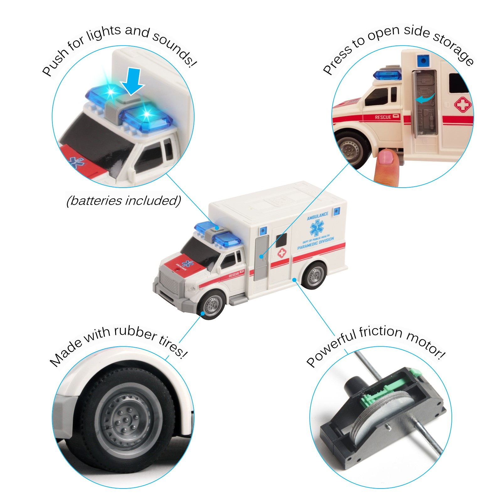 Rescue Ambulance Friction Powered 120 Scale Toy Car With Lights And Sounds Durable Kids Medical Transport Emergency Vehicle Push And Go Pretend Play Van Great Gift For Children Boys Girls