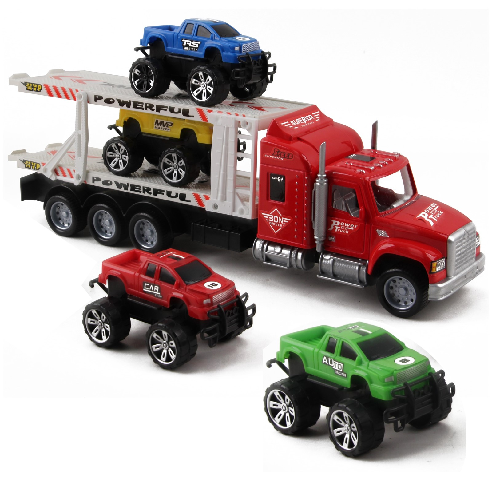 Friction Powered Toy Semi Truck Trailer 145 With Four Lifted Pickup Cars Kids Push And Go Big Rig Carrier 132 Scale Auto Transporter Semi-Truck Play Vehicle Great Gift For Children Boys Girl