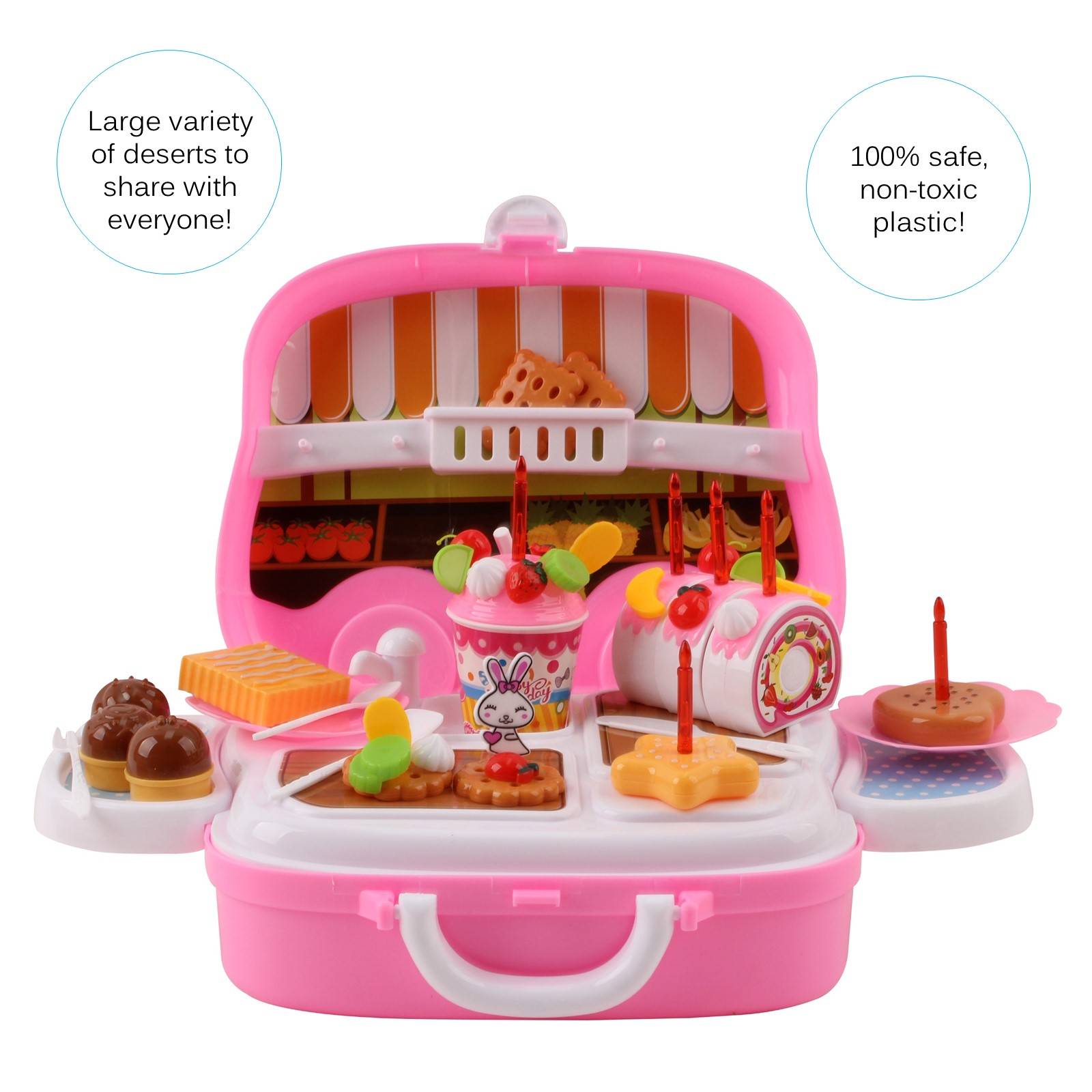 39 Pieces Large Portable Dessert Stand Birthday Cake Ice Cream Cart Candy Trolley Kitchen With Lights Music Candles Food Toys 3 feet tall Childrens Party Pretend Play Truck Folds Up in Suitcase Playset Appliance Set Pieces