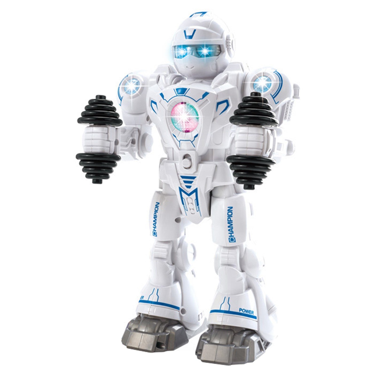Athlete Exercise Push-Up Robot With Workout Dumbbells Lights And Music Walking Dancing Toy Interactive Kids Smart Android Robotic Cop Perfect Funny Action Toy For Boys Girls Toddlers Battery Operated White Bump And Go