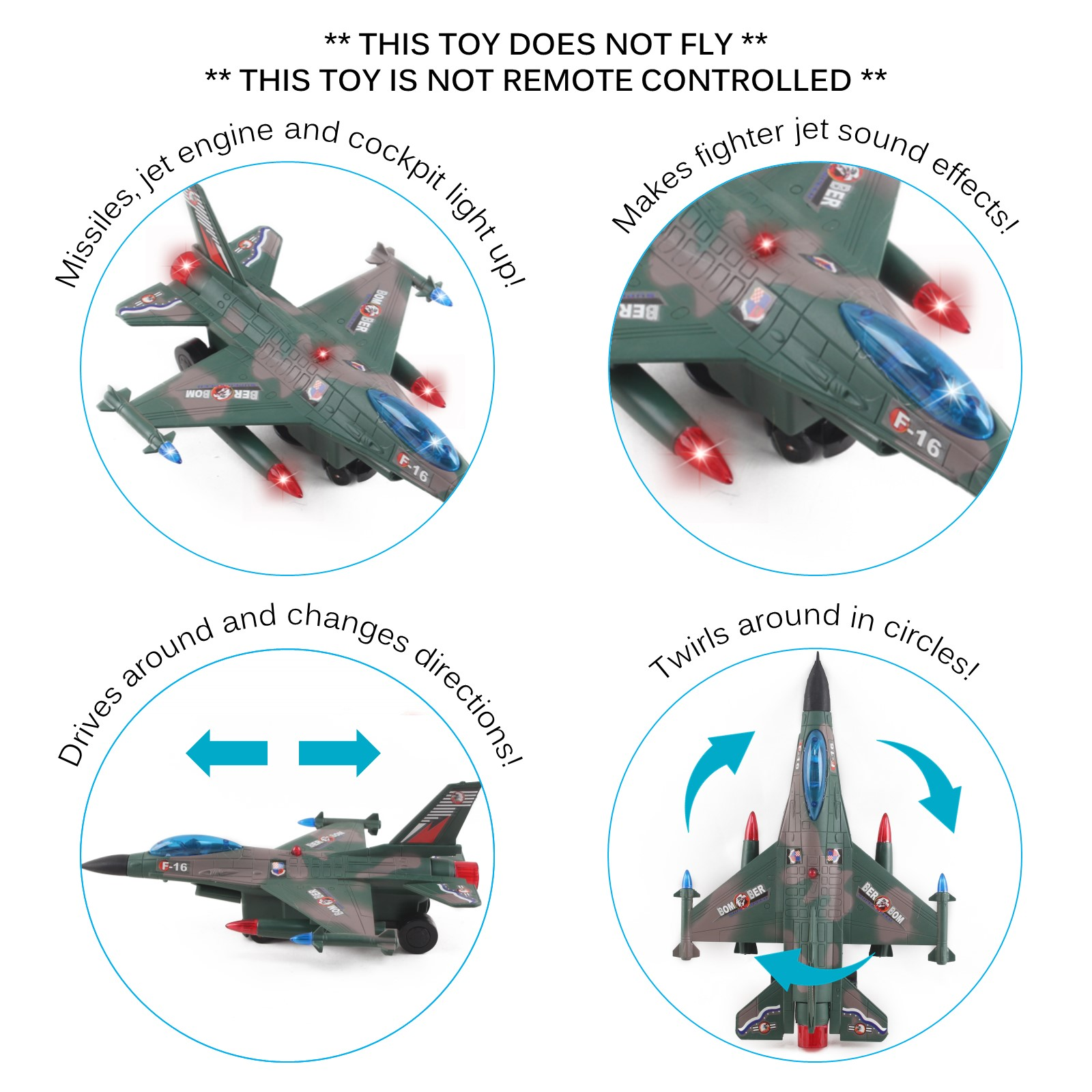 Toy Army Air Force Fighter Jet F16 Battery Operated Kids Bump and Go Toy Plane With Flashing Lights And Sounds Bumps Into Something and Will Change Direction Perfect For Boys And Girls Green