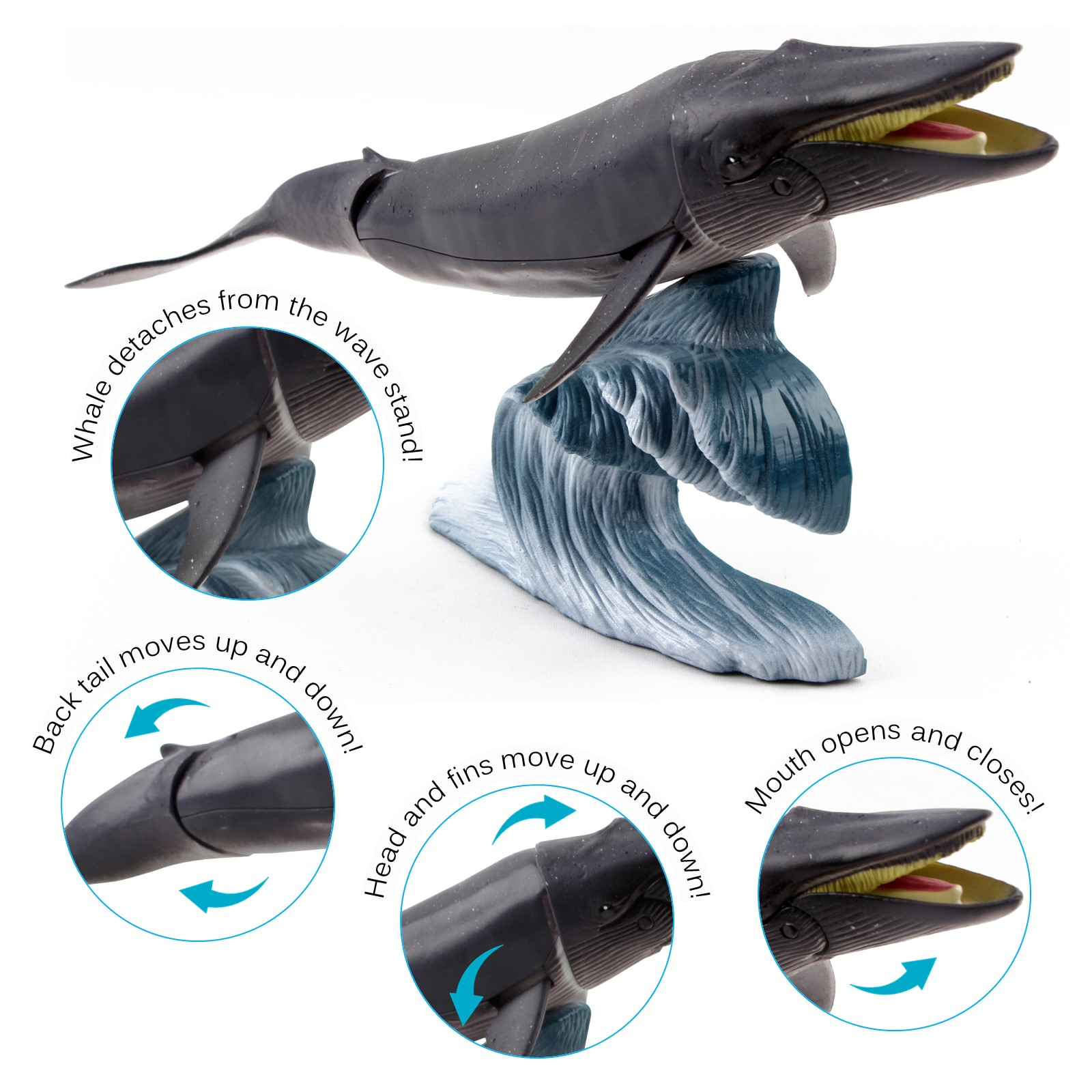 Vokodo Marine Animal Set 6 Piece Includes Humpback Whale 2 Sharks 2 Ocean Fish And Wave Stand Aquatic Life Figurine Species Sea Creatures Kids Play Toys Great Gift For Children Girls Boys Toddlers