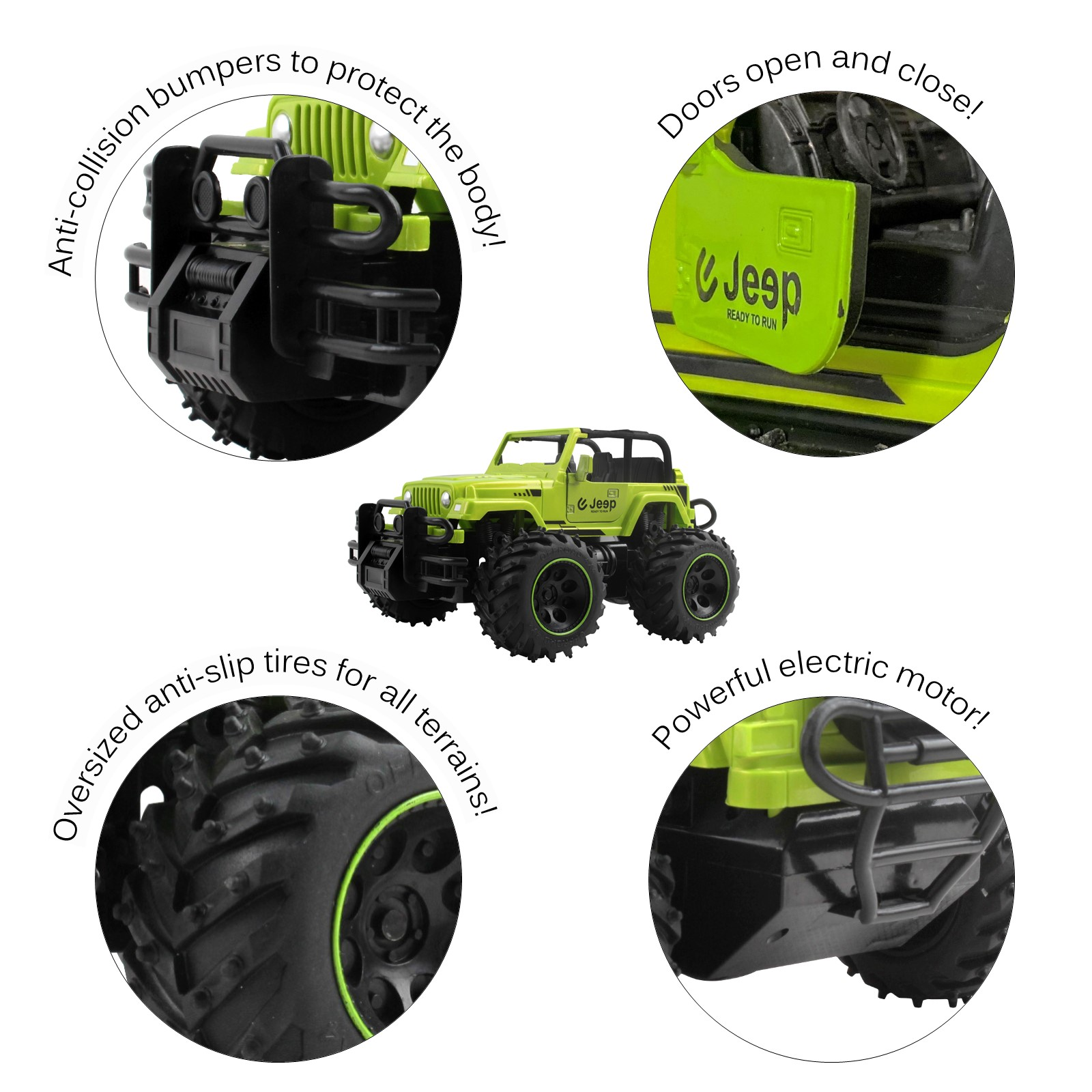 Vokodo RC Truck 10 116 Scale Size Jeep With Big Off-Road Tires And Opening Doors SUV Remote Control Indoor Outdoor Car Ready To Run Electric RTR Kids Toy Vehicle Great Gift For Children Boys Girls