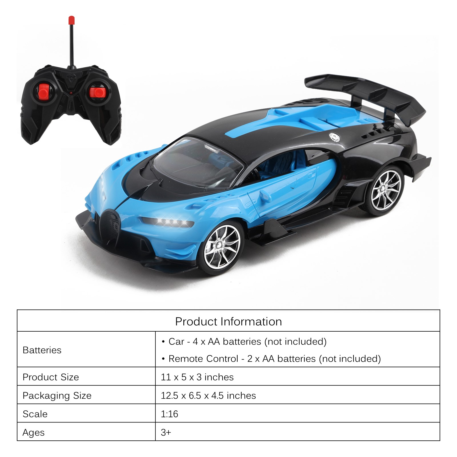 Vokodo RC Super Car 116 Scale Remote Control Full Function with Functional LED Headlights Easy to Operate Kids Toy Quality Race Vehicle Perfect Exotic Sports Model Great Gift for Children Boys Girls