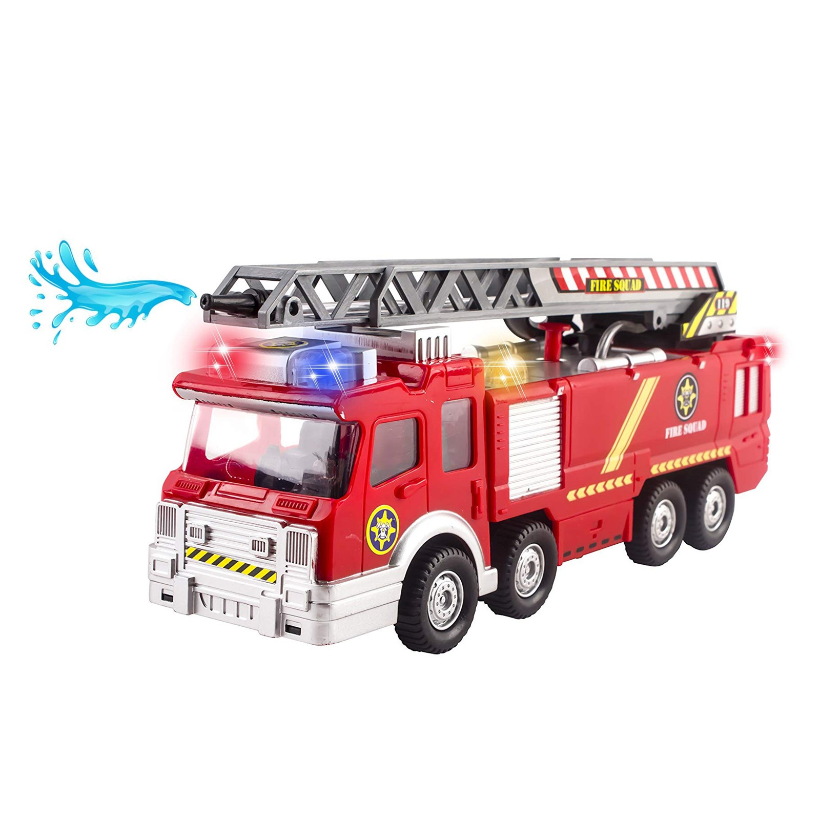 Fire Truck Toy Rescue With Shooting Water Flashing Lights and Siren Sounds Extending Ladder And Water Pump Hose That Shoots Water Perfect Bump And Go Action Firetruck for Boys Girls