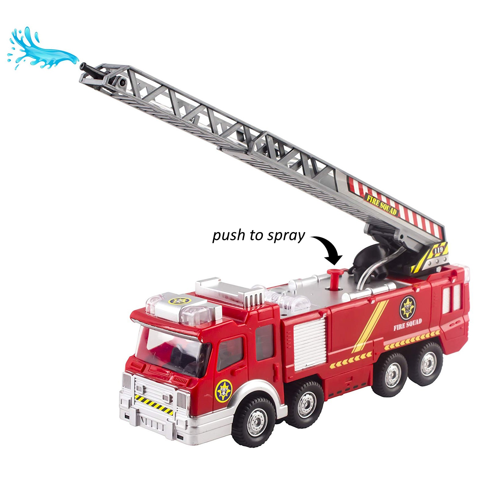 Extendin... Lights and Sirens Sounds Fire Truck Toy Rescue with Shooting Water